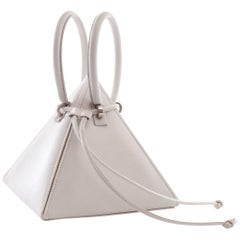 NitaSuri Lia White Leather Pyramid Handbag