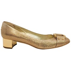 Jimmy Choo Textured Gold Metallic Leather Moore Pumps With Mirrored Heels