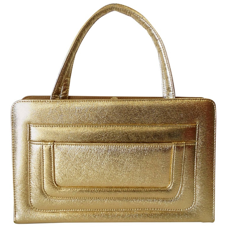 1960s Metallic Gold Pocket Handbag