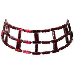 Daniel Swarovski Latter Grid Red Crystal Choker