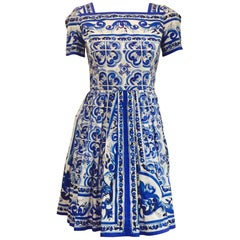 Delightful Dolce & Gabbana's Italian Tile Design Cotton Blue and White Dress