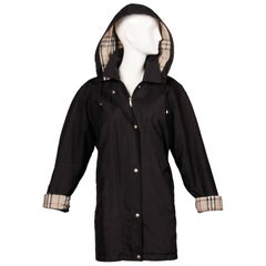 Burberry Black Rain Coat or Jacket with Nova Plaid Lining + Detachable Hood