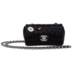 Chanel Black Silk Mini Make Up Flap Bag