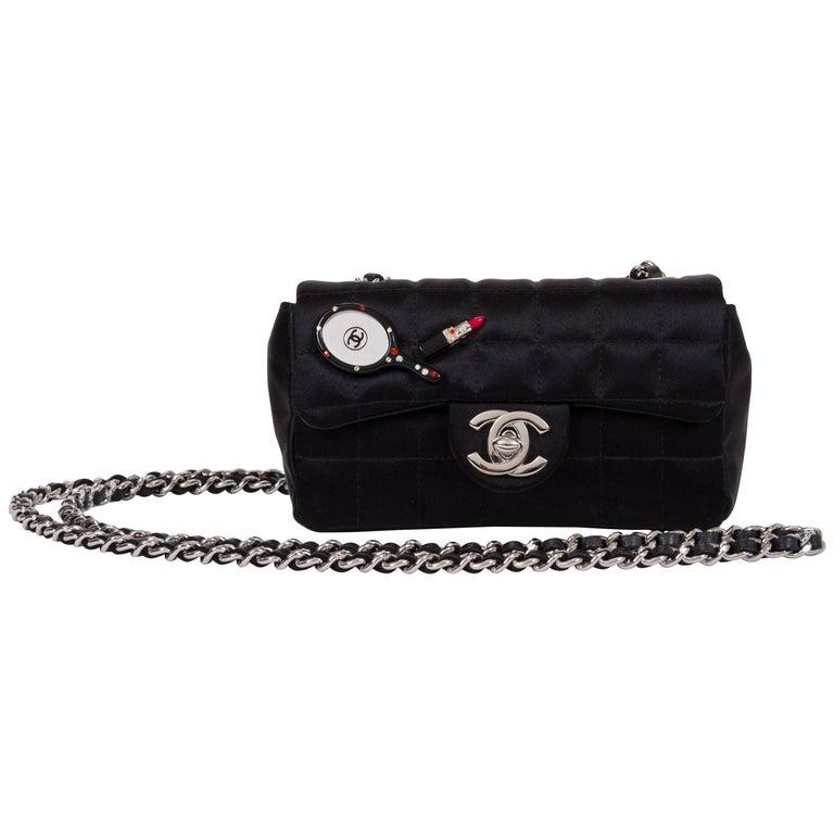 Chanel Black Silk Mini Make Up Flap Bag