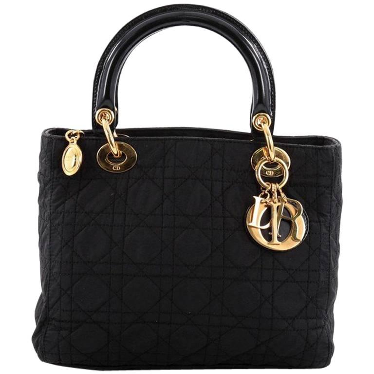 a91772b21d Christian Dior Lady Dior Handbag Cannage Quilt Nylon Medium at 1stdibs