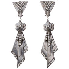 Pierre Bex Art Deco style Silver Plated and Rhinestone Drop Statement Earrings
