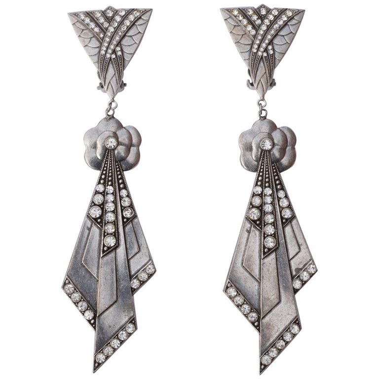 484871799 Pierre Bex Art Deco style Silver Plated and Rhinestone Drop Statement  Earrings For Sale