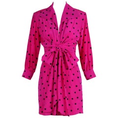 Yves Saint Laurent YSL Fuchsia Silk Crepe Polka Dot Day Dress