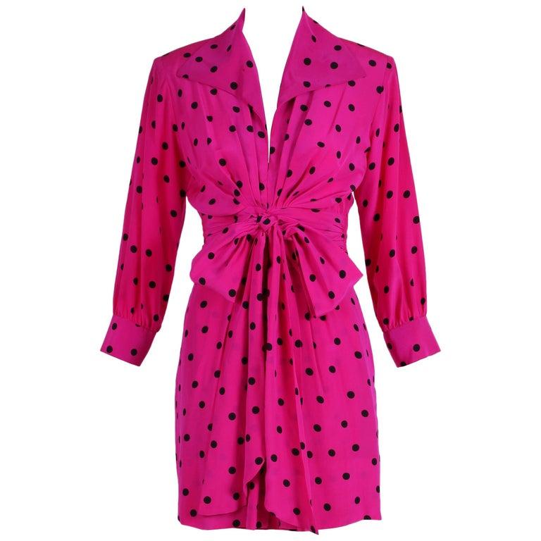 Yves Saint Laurent YSL Fuchsia Silk Crepe Polka Dot Day Dress