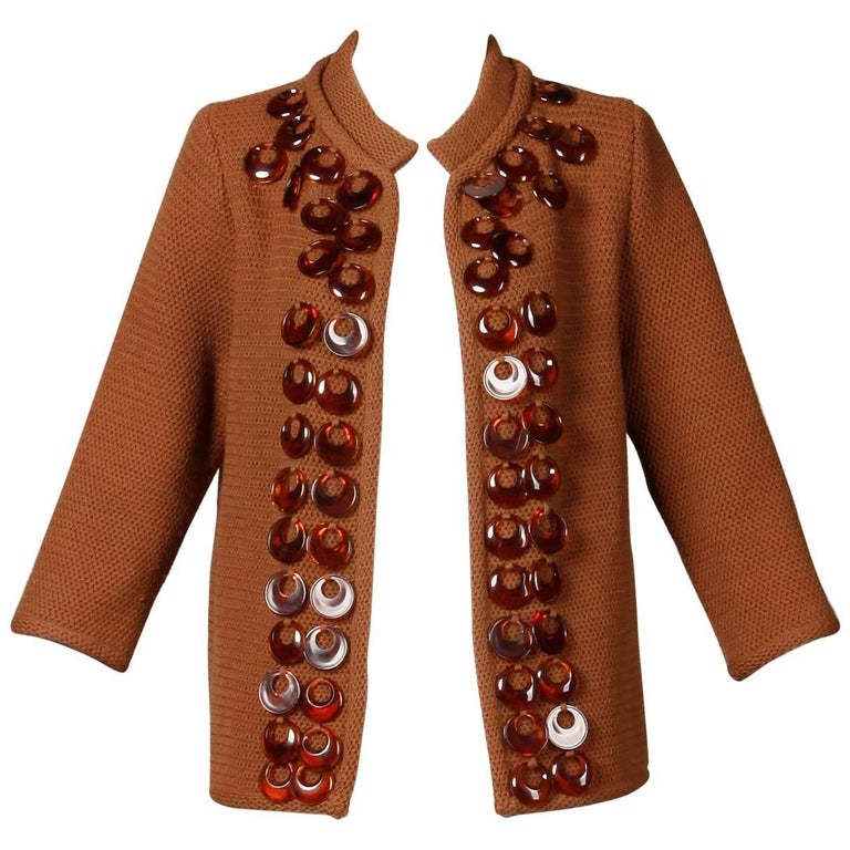 1960s Vintage Ethel Beverly Hills Brown 100% Wool Knit Rings Cardigan Sweater