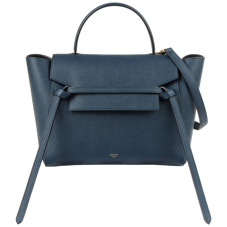 Celine A W 2018 Steel Blue Calfskin Leather Top Handle Mini Belt Bag Nwt For At 1stdibs