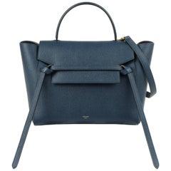 "CELINE A/W 2017 Steel Blue Calfskin Leather Top Handle ""Mini Belt Bag"" NWT"