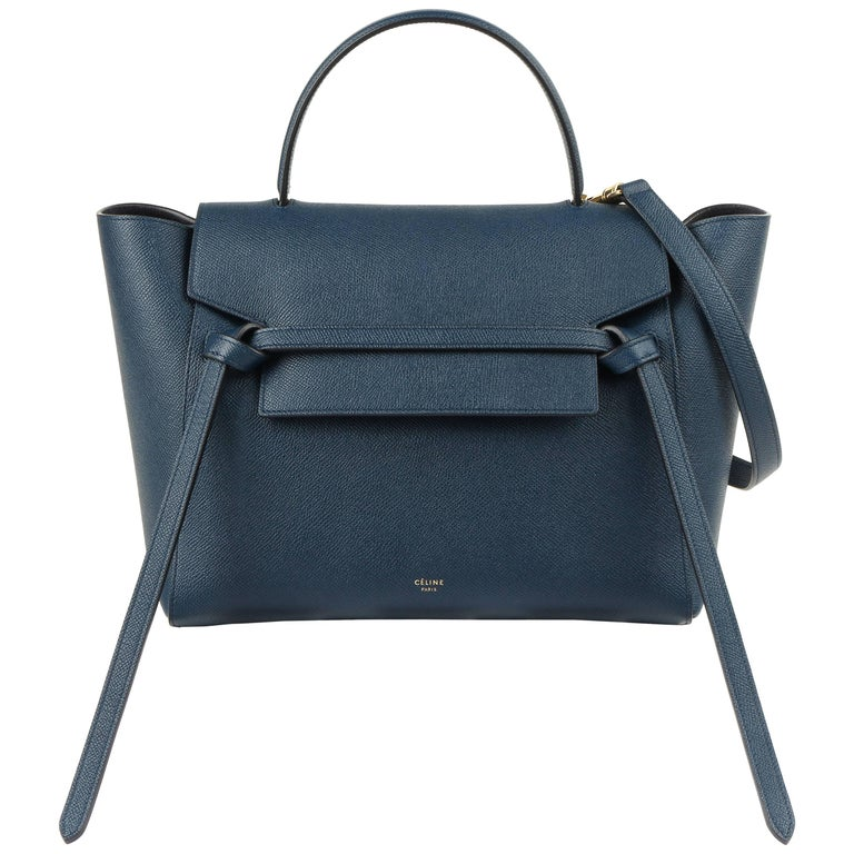 78a0b4b26c CELINE A W 2017 Steel Blue Calfskin Leather Top Handle