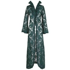 Arnold Scaasi Couture Hunter Green Gripure Lace Evening Coat