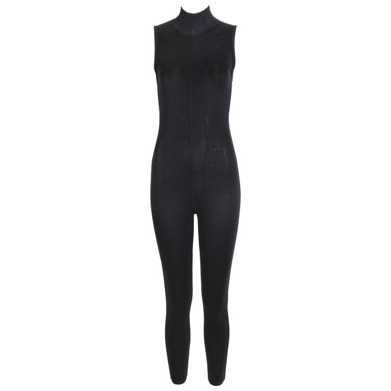 Chanel Black Knit Cat Suit Jump Suit with Goldtone Camellia Buttons