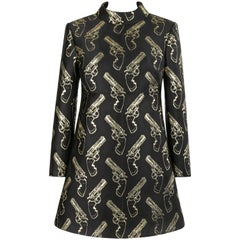 SAINT LAURENT A/W 2014 Black & Metallic Gold Gun Print Mini Shift Dress NWT