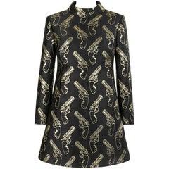 SAINT LAURENT A/W 2014 Black & Metallic Gold Gun Print Mini Shift Dress NWT