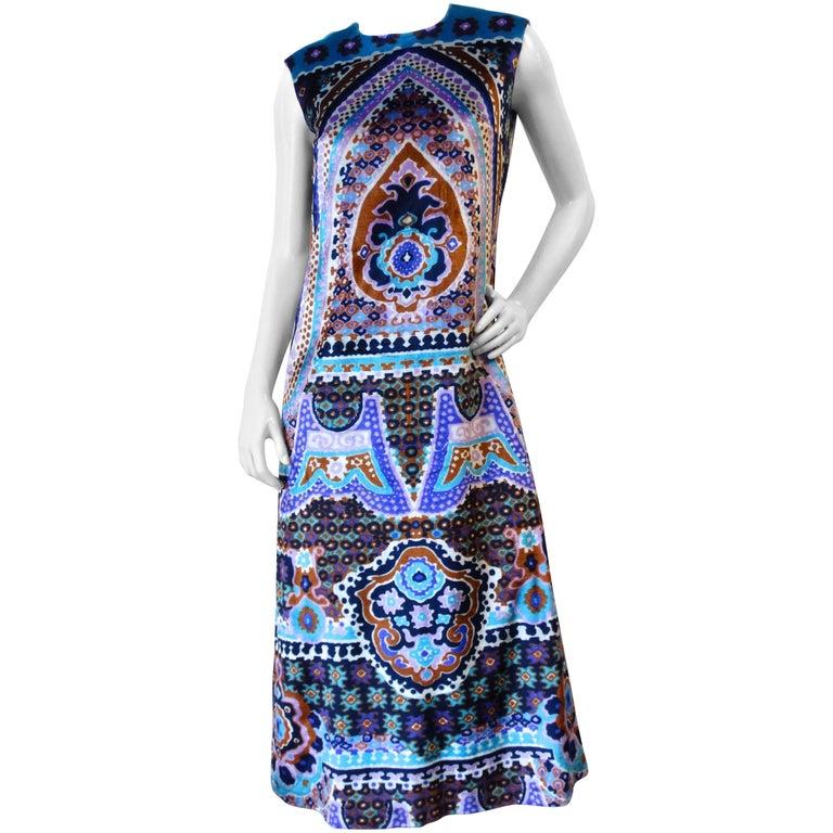 1960s Jacques Esterel Velvet Tapestry Maxi Gown
