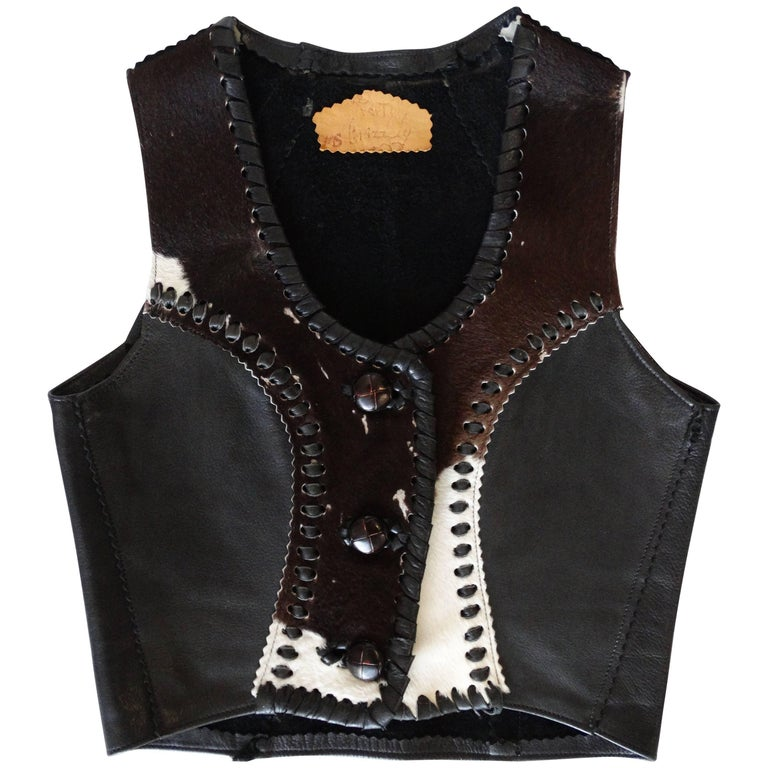 1990s Western Wear Cow Hide Vest