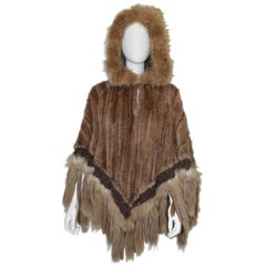 Paula Lishman Knitted Beaver Hooded Poncho Foc Trim
