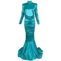 1988 Patrick Kelly Electric Turquoise Stretch Mermaid Gown