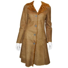 Dolce & Gabbana D & G Shearling Golden Brown Fur Coat