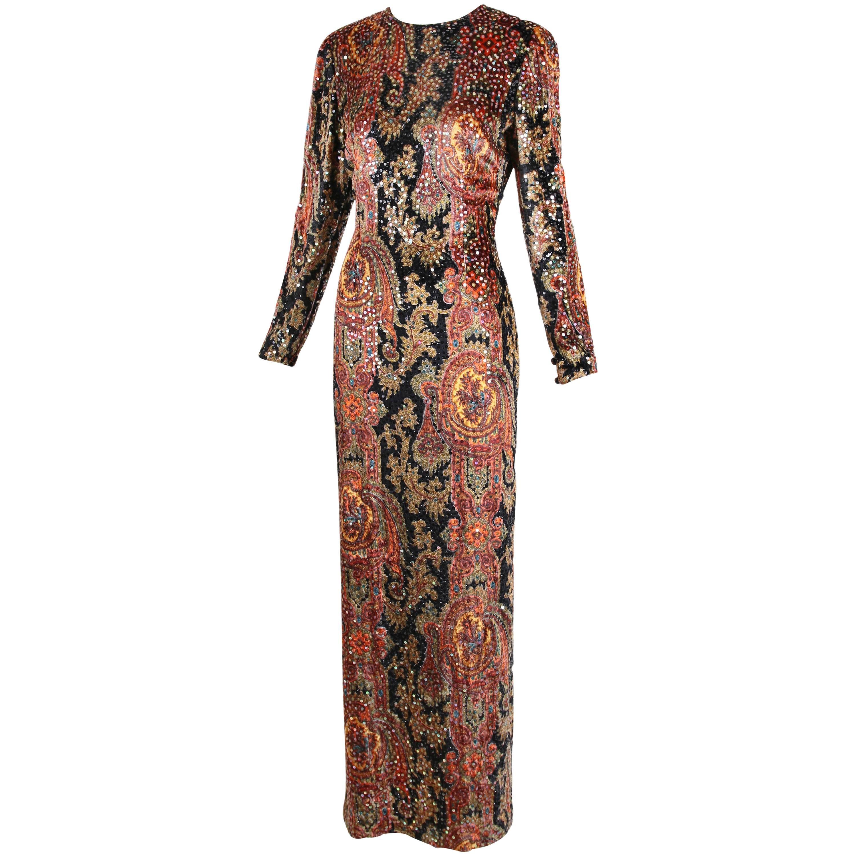 Bill Blass Silk Velvet Paisley Print Sequined Evening Gown