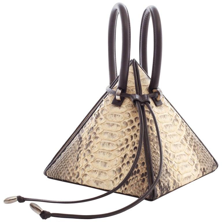 NitaSuri Lia Python Pyramid Handbag 1