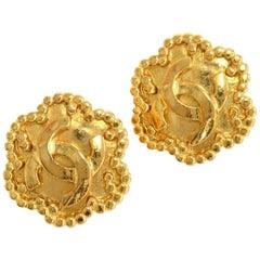 Vintage Chanel Gold Tone CC Logo Flower Motif Earrings