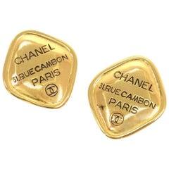 Vintage Chanel Black x Gold Tone Large Earrings