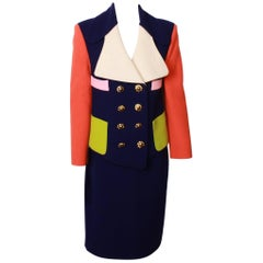 CHRISTIAN LACROIX  Colour Blocked Jacket and Pencil Skirt Suit Ensemble