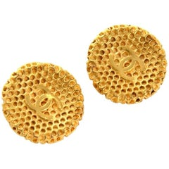 Chanel Gold Tone CC Logo Honeycomb Round Earrings