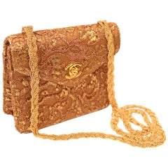Chanel Gold Satin & Embroidered Lace Evening Bag with Gold Braided Chain Strap