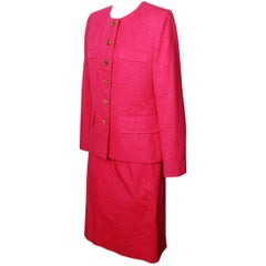Yves Saint Laurent Variation Orchid Pink Jacquard Suit Ensemble, 1980s
