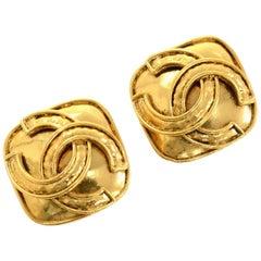 Chanel Gold Tone CC Logo Square Earrings