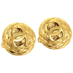 Vintage Chanel Gold Tone CC Logo Round Earrings