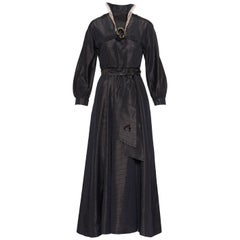 1930s Black and Bronze Striped Taffeta Dress
