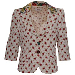 1990s Kenzo White Suit Jacket with Floral and Polka Dot Print