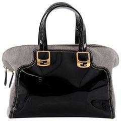 Fendi Chameleon Convertible Satchel Patent Leather and Canvas Medium