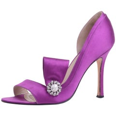 Brian Atwood d'Orsay Pump Shoes in Purple Satin