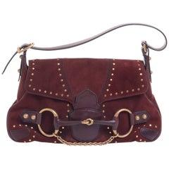 1990s Gucci Leather Bordeaux Horsebit Shoulder Bag