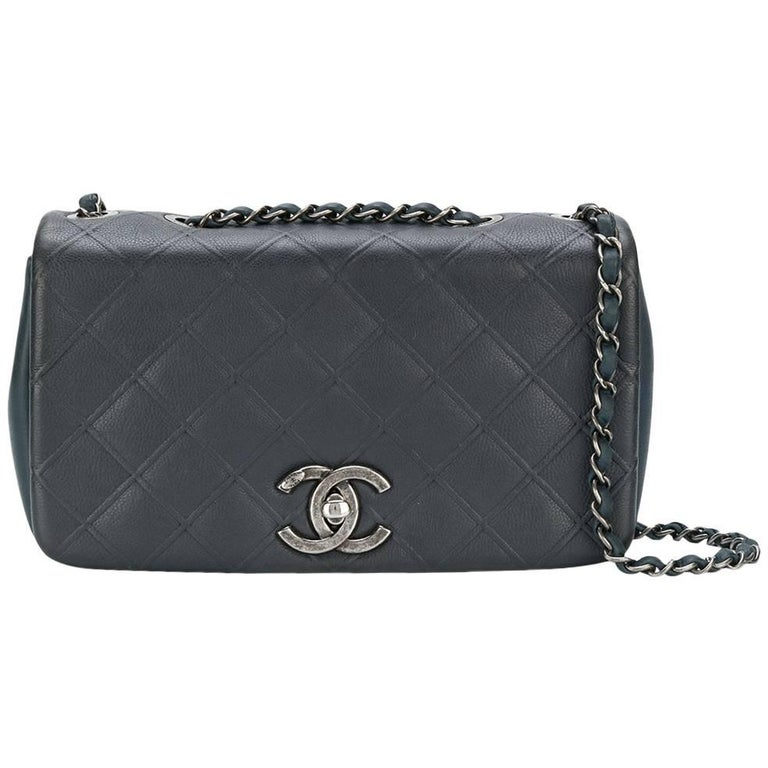Chanel Two Tone Leather Flap Bag For Sale