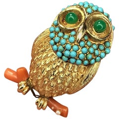Cadoro Signed Faux Jade Turquoise Owl on Coral Branch Brooch Pin