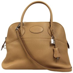 2000s Hermès Camel Taurillon Clemence Leather Bolide Bag