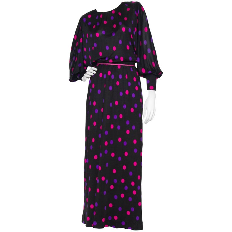 70s Lanvin Silk Jersey Polka-dot Dress