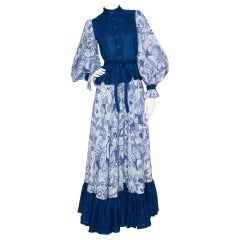 1970s Jean Varon Blue Cotton Dress