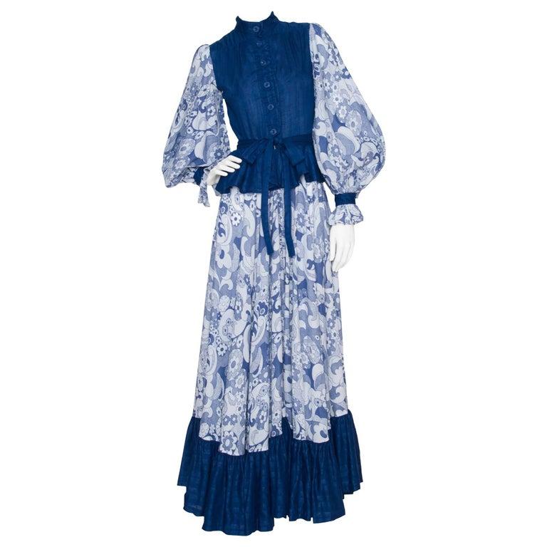 1970s Jean Varon Blue Cotton Dress