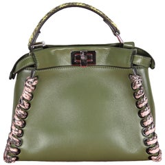 FENDI Mini Peekaboo Military Green Leather Elaphe-trimmed Handbag