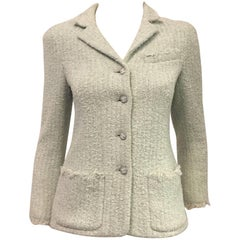 Collectible Chanel Mint Green Boucle Tweed  Cropped Jacket With Fringe