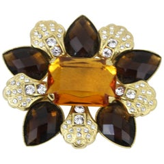 Men's Dolce Gabbana Brooche in Stainless Steel and Stones